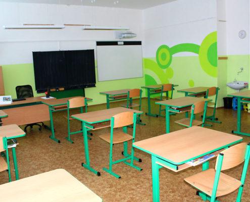 Rohový pohled do zelené třídy